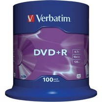 100x Lege DVD+R  4,7 Gb 16x speed (Spindel) Verbatim